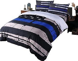 Rhap Quilts Cover Queen Size, American Flag Duvet Cover Set, 3pcs Bedspreads Queen Size Set, Blue Black Valor Patriot Them...