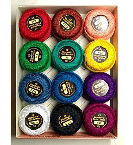 Wonderfil Eleganza #8 Perle Cotton Embroidery Thread Sampler Collection,