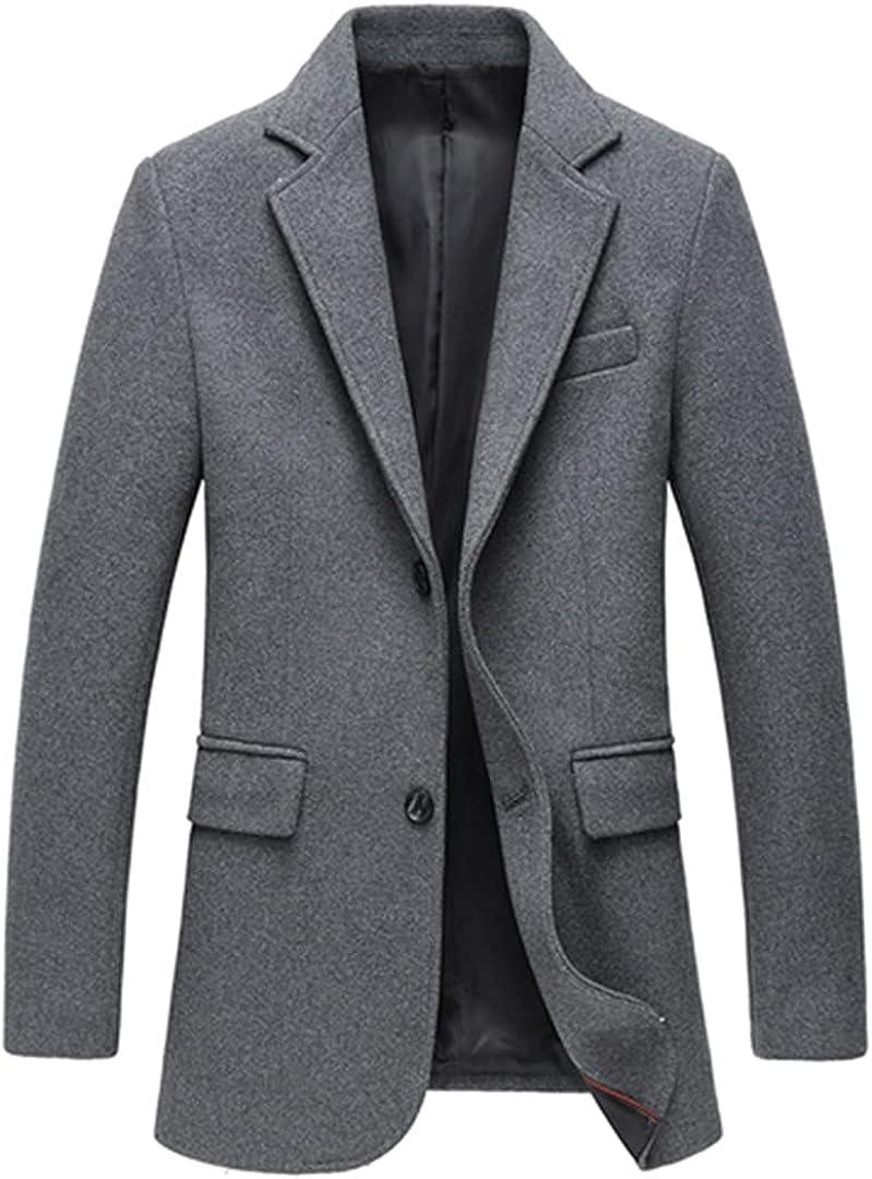 Men Wool Coats Slim Mens Overcoat Solid Jackets Business Woolen Blend Coat Soft Male Pockets Outwear