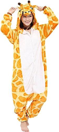 dressfan Unisex erwachsene Tierpyjamas Giraffe Cosplay Kostüm