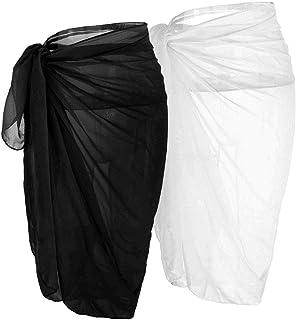 CHIC DIARY ملابس السباحة النسائية الشيفون Pareo شاطئ تغطية بيكيني سارونغ ملابس السباحة التفاف التنانير