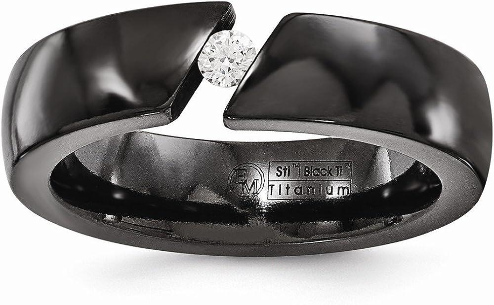 Sonia Jewels Solid Black Titanium Men's .10ct Diamond 6mm Wedding Band Ring