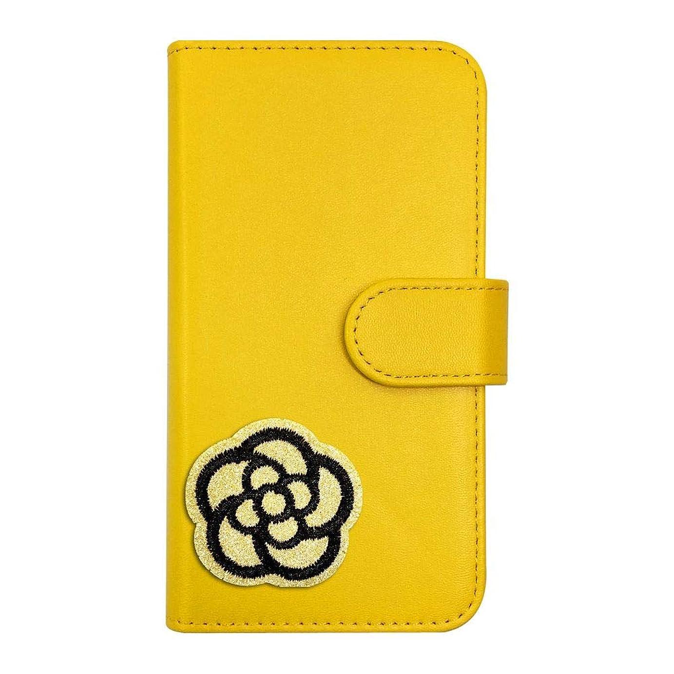 日光ヘビー芝生sslink iPod touch6 アイポッドタッチ6 ケース 手帳型 カメリア(ゴールドグリッターラメ) デコ かわいい おしゃれ ワッペン 刺繍 キラキラ (手帳イエロー) ダイアリータイプ 横開き カード収納 フリップ カバー スマートフォン