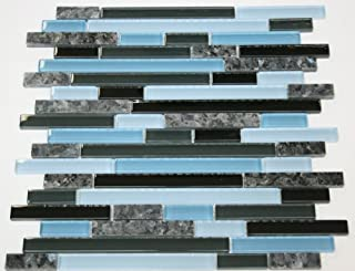 Laguna Blue Random Pattern Glass Tile & Granite Tile; Color: Black & Blue Glass with Blue Pearl Granite (5)