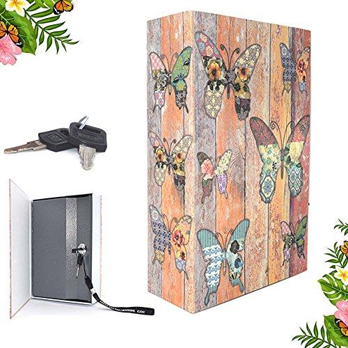 Eiou 7.14.65,6cm bloccaggio cassaforte a forma di libro con chiave di sicurezza Diversion Hidden Book Safe with Strong metal case inside farfalla
