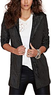 Women Sparkle Sequins Open Front Long Sleeve Blazer Jacket