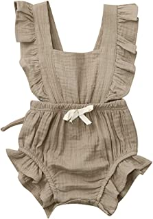 Toddler Baby Girls Romper Newborn Infant Bowknot Flutter Sleeve Ruffles Backcross Bodysuit Outfits