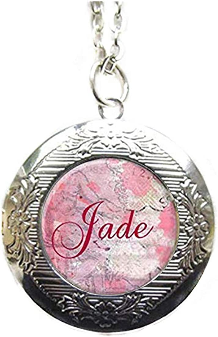 Pink rose Locket Necklace, Personalized Name Locket, Personalized Jewelry, Dome Glass Jewelry, Pure Hand-Made
