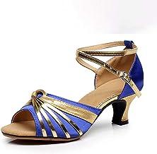 JXILY Latin Shoes for Women Adult Satin Ballroom Salsa Dance Shoes Heel Open Toe Sandals Women's Shoes That Suppress Beriberi