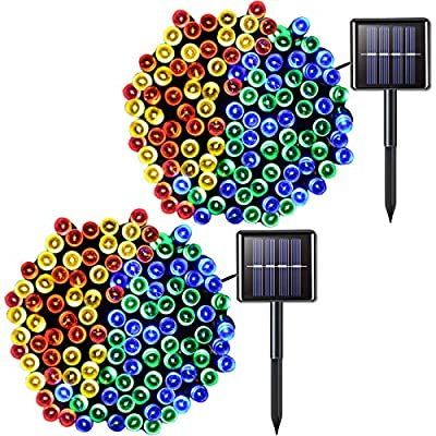 JMEXSUSS 2 Pack Solar String Light 200LED 75.5ft 8 Modes Solar Christmas Lights Waterproof for Gardens, Wedding, Party, Christmas Tree?Halloween,Homes, Curtains, Outdoors (200LED-Multicolor-2Pack)