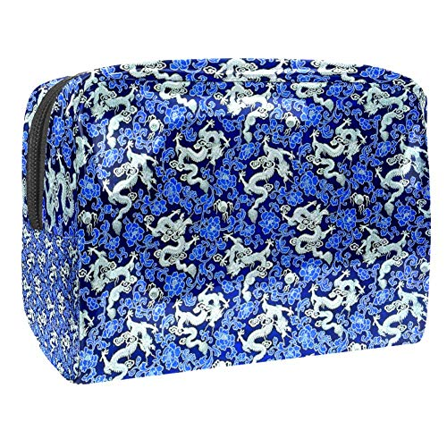 TIZORAX Sac à cosmétiques en PVC Bleu Motif floral