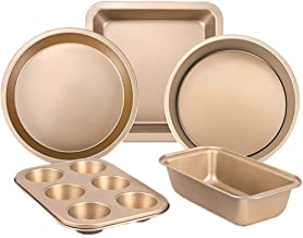 MTXU Baking Set, Baking Mold, Cake Mold, Biscuit Tart Bread Mold Set, West Point Baking Oven Tool, Gold Five-piece Set (Color : Gold, Size : Five-piece)