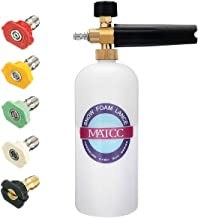 MATCC Foam Cannon I Snow Foam Lance Pressure Washer Jet Wash with 1/4'' Quick Connector Foam Blasters 5 Power Washer Nozzle Tips for Cleaning