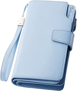 BOSTANTEN Womens Leather Clutch Wallets Wristlet Long Zip Cash Card Holder Light Blue