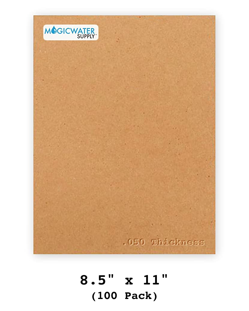 100 Chipboard Sheets 8.5 x 11 inch - 50pt (Point) Heavy Weight Brown Kraft Cardboard for Scrapbooking & Picture Frame Backing (.050 Caliper Thick) Paper Board | MagicWater Supply wiuzpsjazz