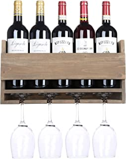 Wine Display Rack,Rustic Wall Mounted Wine Rack with 5 Red Wine Glasses Storage,Wooden Wine Bottle Holder for Decor,Floati...