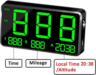 kingneed Original Universal GPS Head Up Display Speedometer Odometer Car Digital Speed Display MPH Over Speeding Alarm Car Clock for All Vehicles C60/C60S/C80/C90 (C80-1)