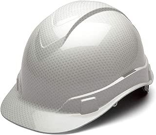 Pyramex Ridgeline Cap Style Hard Hat, 4-Point Ratchet Suspension, Shiny White Graphite Pattern