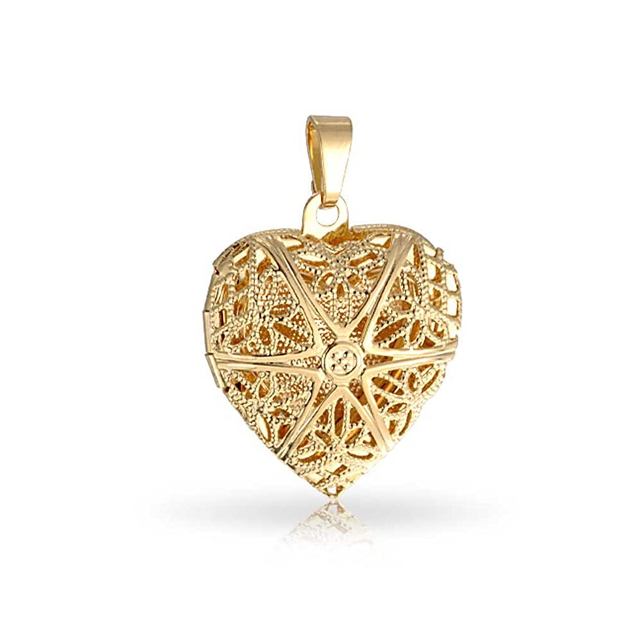 18k Gold Plated Brass Star Pattern Filigree Heart Shaped Locket Pendant for Women