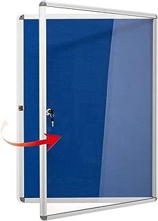 Swansea Fabric Bulletin Board Lockable Noticeboard Case with Aluminium Frame 26x20inch (4xA4)