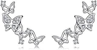 Pendientes de novia QUKE de plata de ley 925 y circonitas con diseño 3D de mariposas estilo «ear cuff»