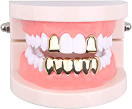 TSANLY Gold Grillz Mouth Teeth 24K Plated Gold Custom Fit Top & Bottom Set Caps Grillz for Women Gift + Extra Molding Bars + Microfiber Cloth