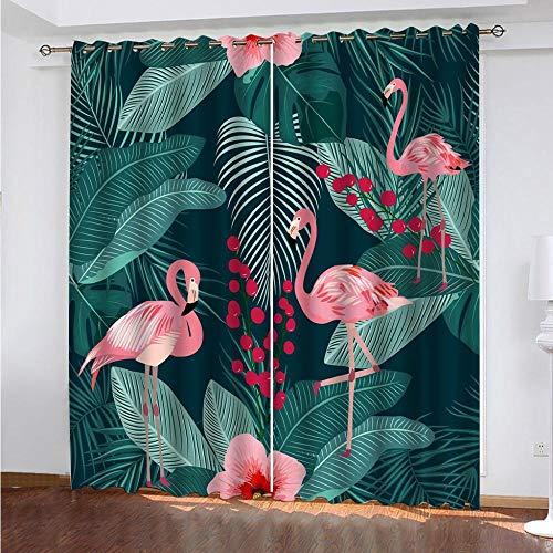 Vorhänge Blickdicht Palmblätter Tropische Pflanzen Flamingo 2er Set Druck Thermo Gardinen Polyester Ösenschal Thermovorhang Lichtdicht Verdunkelungsvorhang für Schlafzimmer Kinderzimmer 280x250cm