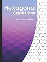 "Hexagonal Graph Paper: 1 inch Hexes, 130 Sheets Hexagonal Large Grid 0.5"" Hexes Large Grids Hex Paper Pad Half Drawing Gam..."