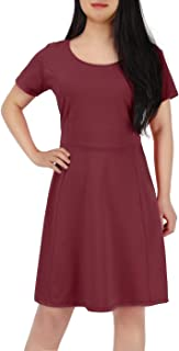 Women's Plus Size Short Sleeve Flared Casual Summer A-Line Midi Dress