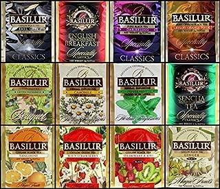 Basilur   Pure Ceylon tea Variety Pack   12 Different Varieties, 5 Tea Bags Each   Black Tea, Flavored Tea, Green Tea, & Herbal Tea   Foil Envelopes   Pack of 60