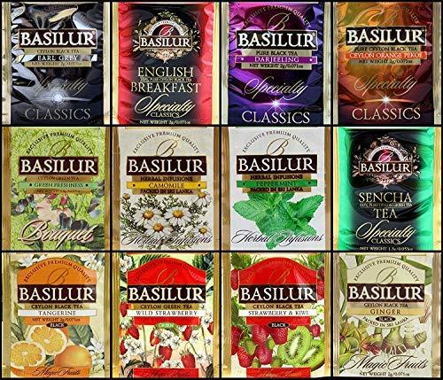 Basilur | Pure Ceylon tea Variety Pack | 12 Different Varieties, 5 Tea Bags Each | Black Tea, Flavored Tea, Green Tea, & Herbal Tea | Foil Envelopes | Pack of 60