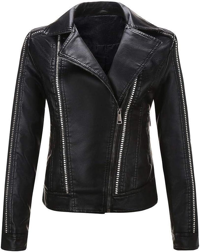 FORUU Women Motor Biker Jacket,Fashion Trendy Lapel Coat Zip Up Biker Short Punk Cropped Faux Leather Coat Outwear