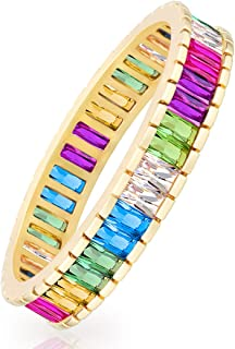 18K Gold Plated High Polished CZ Cut Rainbow Multi Color...