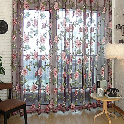 Edal Durable Floral Tulle Voile Voile Curtain Sheer Panel Drape Window Scarfs Wine Red Flower with Purple Background and Beads