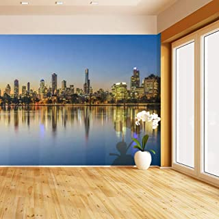 HIMURAL Sunset, Melbourne Self Adhesive Peel and Stick Wallpaper Self Stick Mural Photos Home Wall Paper Sticker Wall Mural Decals Fresco Posters Removable