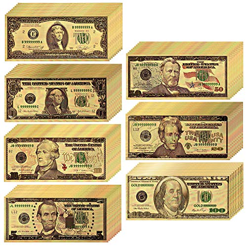 LONG7INES USA President 1/2/5/10/20/50/100 Dollar Bill Banknote, 24k Gold Coated Legacy Limited Edition Chief Executive Banknote Bill Great Gift for Coin Currency Collectors and Republican (70 Pack)