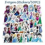 PMSMT 50 Piezas de Pegatinas de Frozen de Disney, Pegatinas de animación de Dibujos Animados Impermeables Que no se repiten, Equipaje de Juguete, Guitarra, Personalidad, Graffiti, Sticke