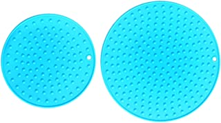 Extra Large, Extra Thick Silicone Trivet Mat Set For Hot Dishes - Silicone Hot Pot Holder for Table, Kitchen Hot Pads for Pots & Pans, Extra Large and Regular Sizes S/2 (Blue)