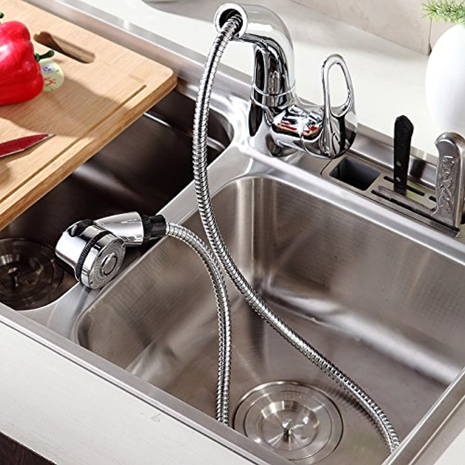 Kohsed Full Copper Kitchen Faucet 0.8M Stainless Steel Hose Pulling 360 Degree redation Can Be Lifted And Downmodern Simple Luxury Quality Guarantee Home Decoration