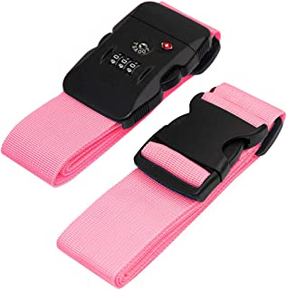 BlueCosto Luggage Strap TSA Approved Combination Lock Adjustable Suitcase Straps Travel Belt - Pink