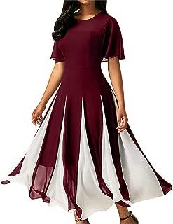 Dami-shop Attractive Women Long Chiffon Short Sleeve Dress O-Neck Patchwork Party Dress Sundresses
