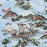 Japanischer hellblauer Rayon Dobby Stoff mit Kiefern