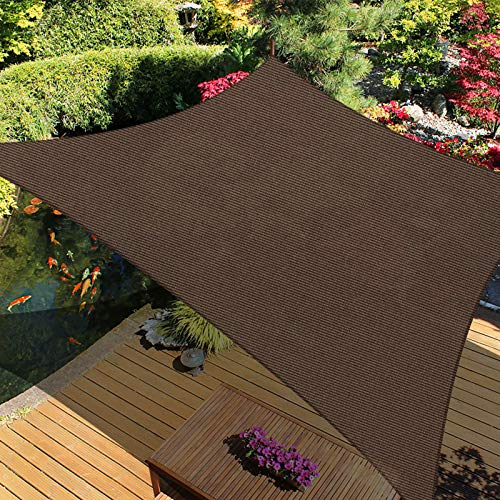 iCOVER Sun Shade Sail Canopy, 185GSM Fabric Permeable Pergolas Top Cover, for Outdoor Patio Lawn Garden Backyard Awning, 9'10'x13', Brown