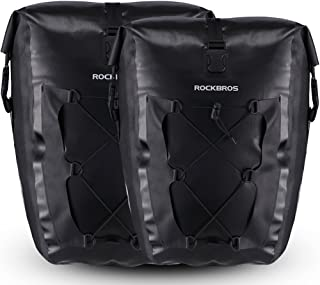 ROCK BROS Bike Pannier Waterproof 27L Large Capacity Bike Bag Rear Rack Bicycle Pannier Bag Waterproof for Grocery Touring Cycling