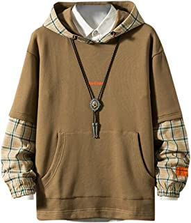 TIFENNY Fall Hooded Men's Hat Lattice Stitching Fake Two Pieces Sweatshirt Long-Sleeved Guards Fashion Comfortable Tops