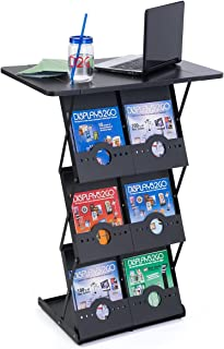 Displays2go 40 Inch Portable Counter, 6 Magazine Pockets, Collapsible, Carrying Case, Black (TDCBRBKBK)