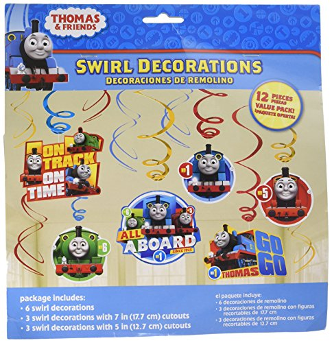 amscan Swirl Value Pack Decorations | 'Thomas All Aboard' | Party Favor | 12 ct., Multicolored, One Size (671752)