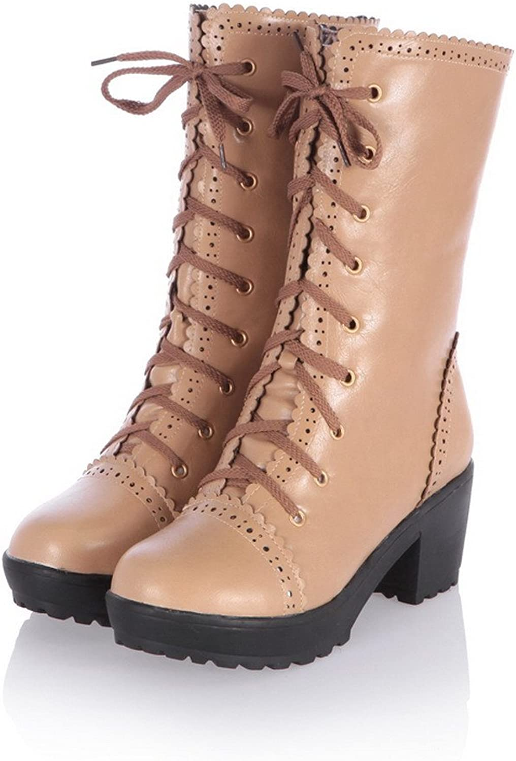 QueenFashion Women's Advanced PU Kitten Heels coloranr Match Hollow Out Combat Boots with Lace-up