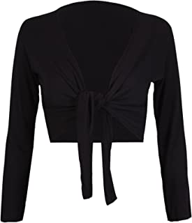 COMMENCER Tie Knot Up Shrug Front Cropped Bolero Shrugs Cardigan Wrap Women's Ladies Long Full Sleeve Open Top