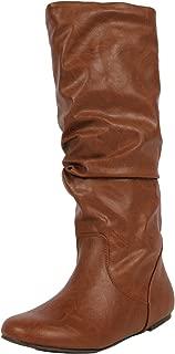 SODA Women's Zuluu Slouchy Faux Leather Knee HIgh Flats Boots